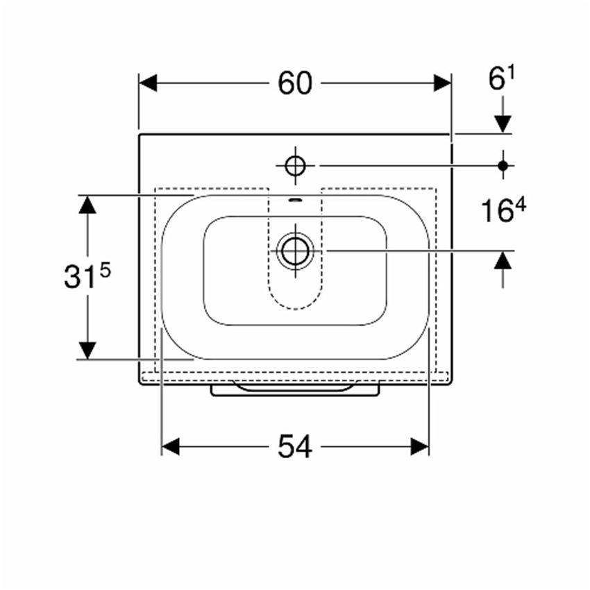 Zestaw meblowy umywalka 60 cm + szafka Koło Nova Pro Premium rysunek