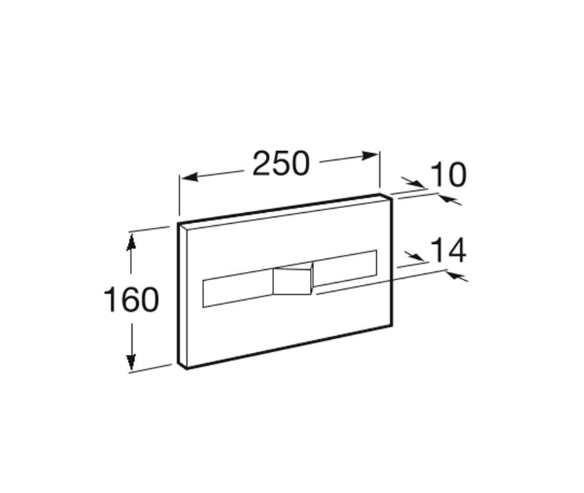 PL2 - przycisk 1-funkcyjny Roca Stelaże podtynkowe rysunek techniczny