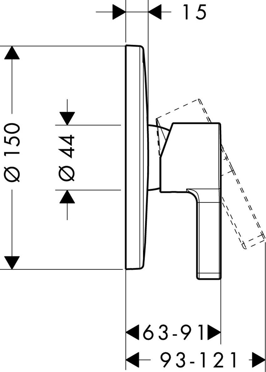 Jednouchwytowa bateria prysznicowa montaż podtynkowy Hansgrohe Metris S rysunek