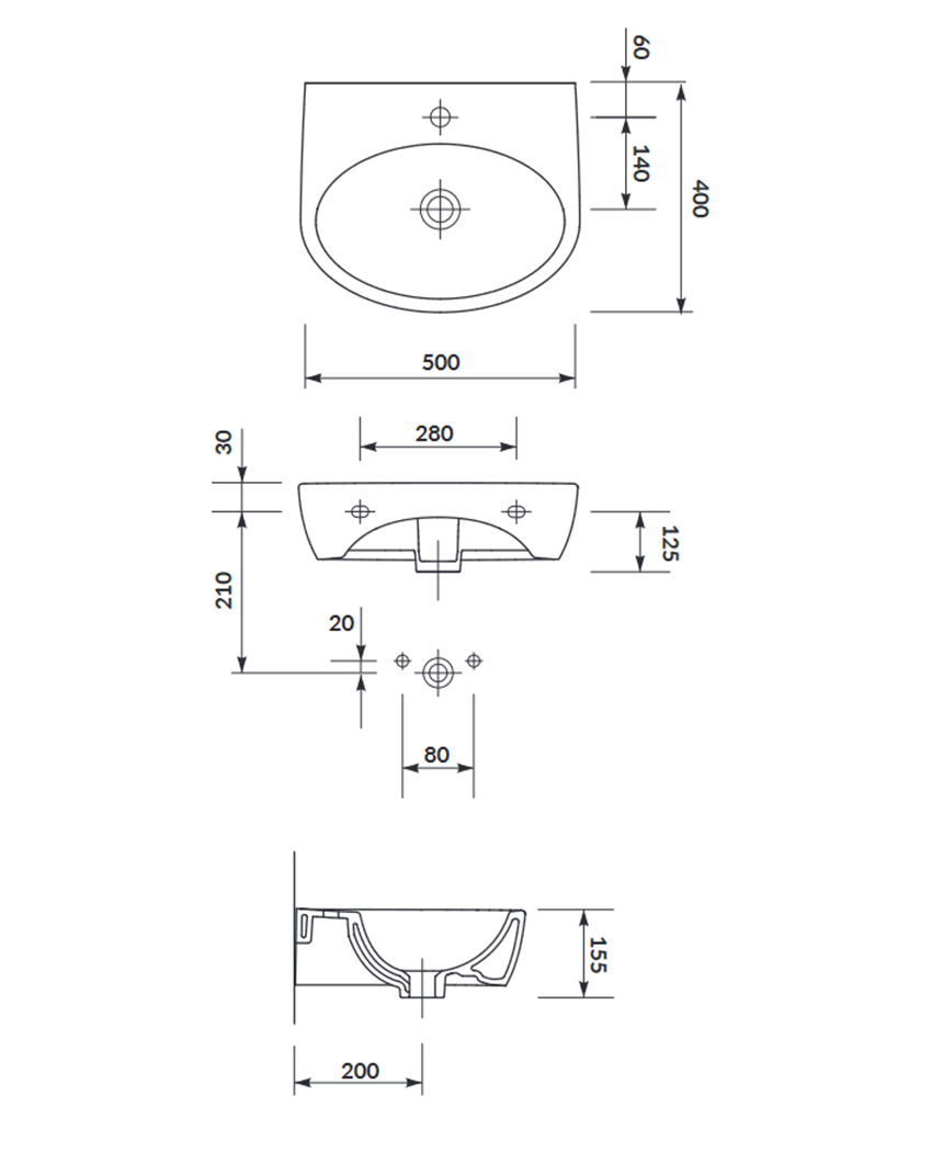 Umywalka wisząca 50 cm Cersanit Parva rysunek