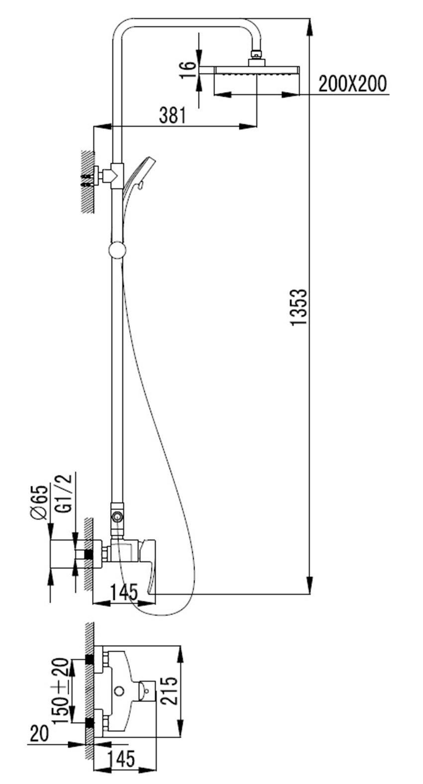 System prysznicowy natynkowy Omnires Murray rysunek techniczny
