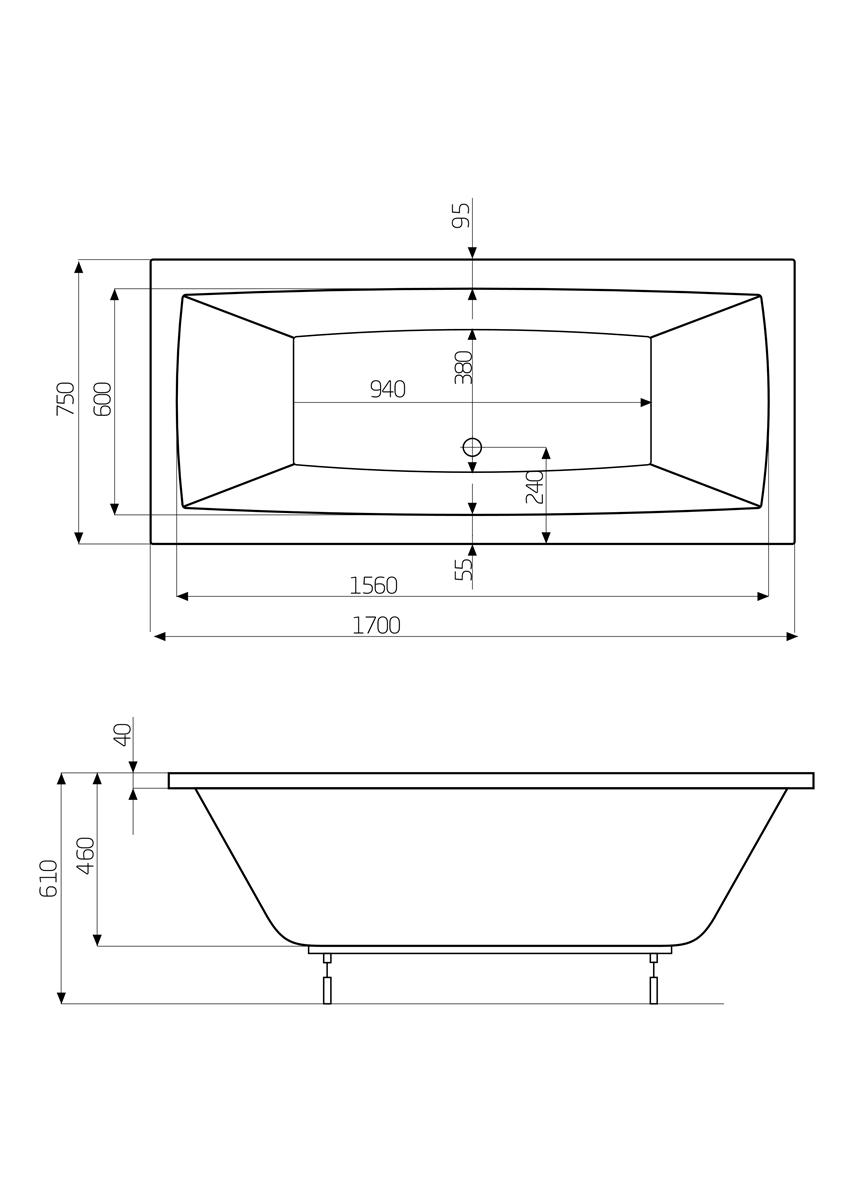 Prostokątna wanna 170x75x46 cm Roca Vita rysunek techniczny