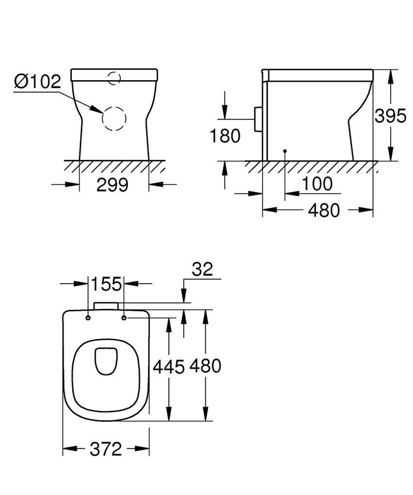 Miska WC stojąca Grohe Euro Ceramic rysunek techniczny