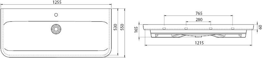 Umywalka CeraStyle Modus 082500-u rys techniczny