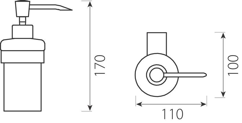 Dozownik na mydło w płynie Ferro Audrey rysunek techniczny