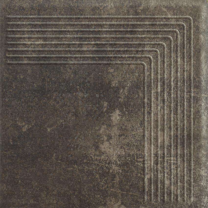 Płytka stopnicowa 30x30 cm Paradyż Scandiano Brown Stopnica Narożna