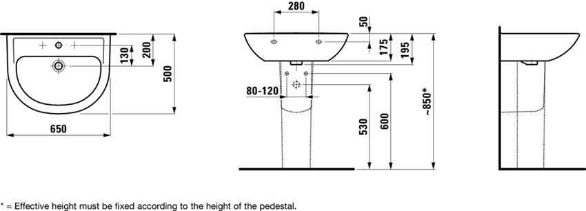 Umywalka ścienna 65 cm Laufen Pro rysunek