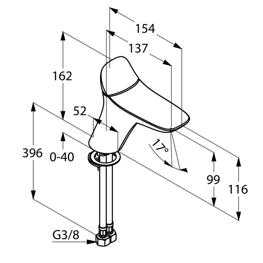 Stojąca bateria umywalkowa bez korka 16,2 cm Kludi Ambienta rysunek techniczny