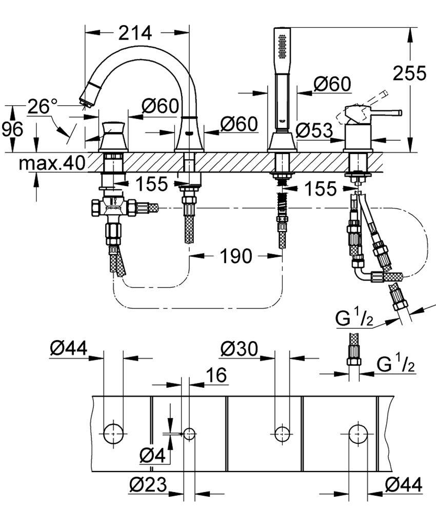 4-otworowa bateria wannowa Grohe Grandera rysunek techniczny
