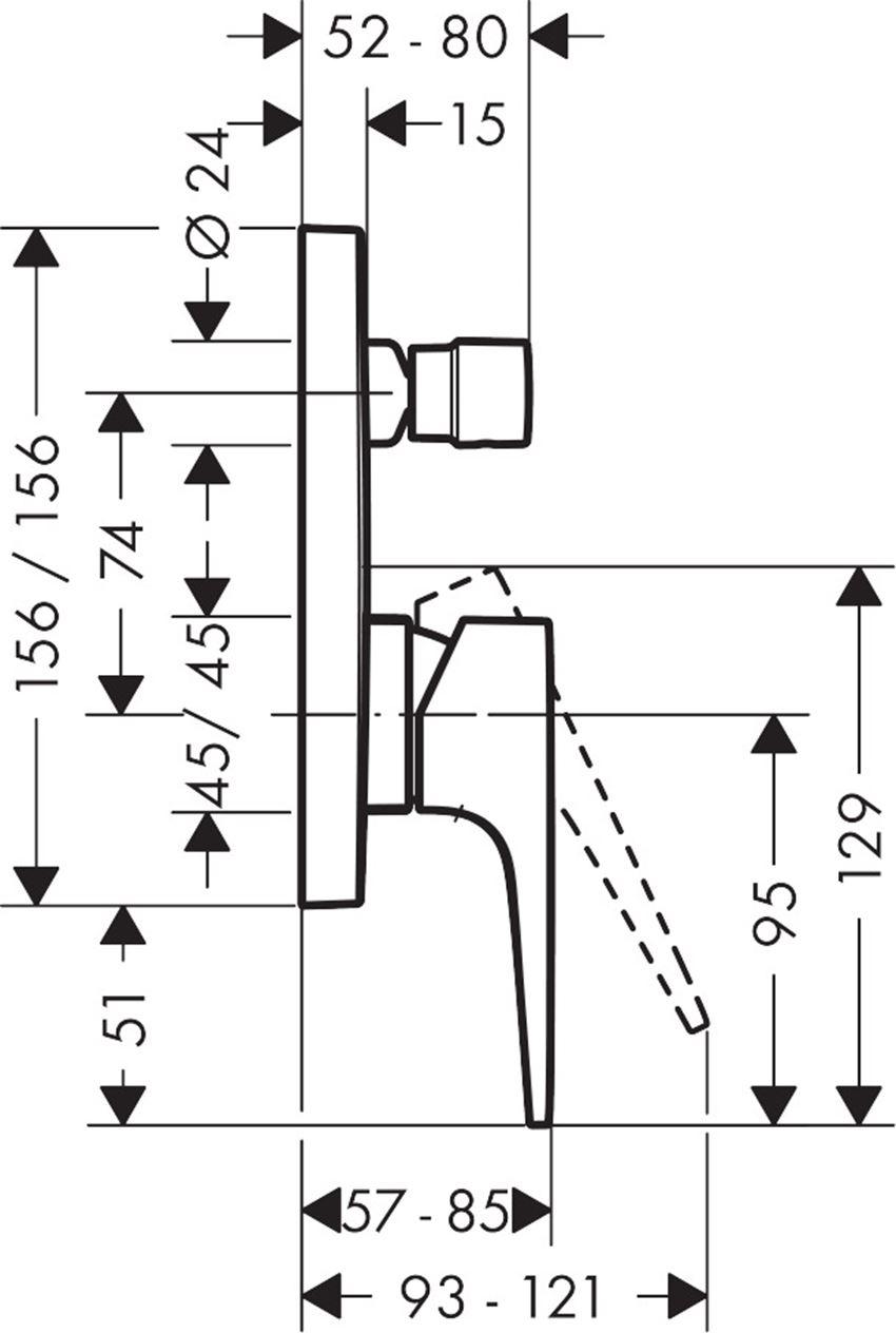 Jednouchwytowa bateria wannowa montaż podtynkowy element zewnętrzny Hansgrohe Metropol rysunek techniczny