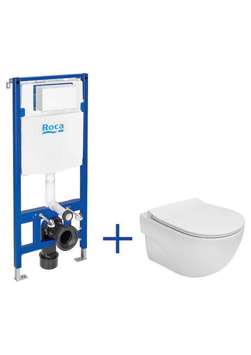 Zestaw podtynkowy Duplo One + miska WC podwieszana Compacto Rimless z deską Slim Roca Meridian