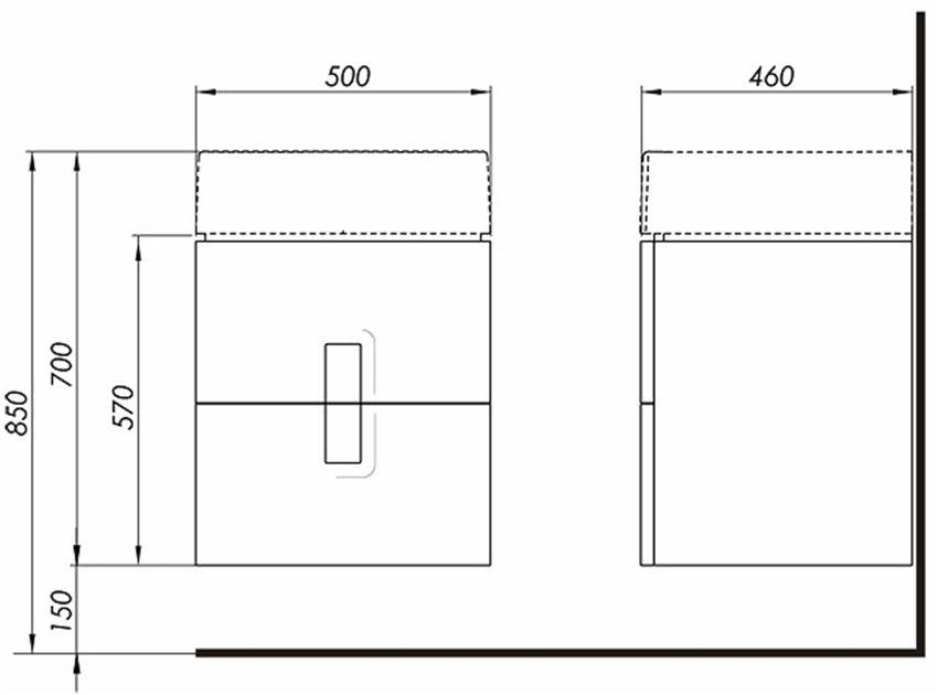 Szafka pod umywalkę 2 szuflady 50x57x46 cm Koło Twins rysunek techniczny