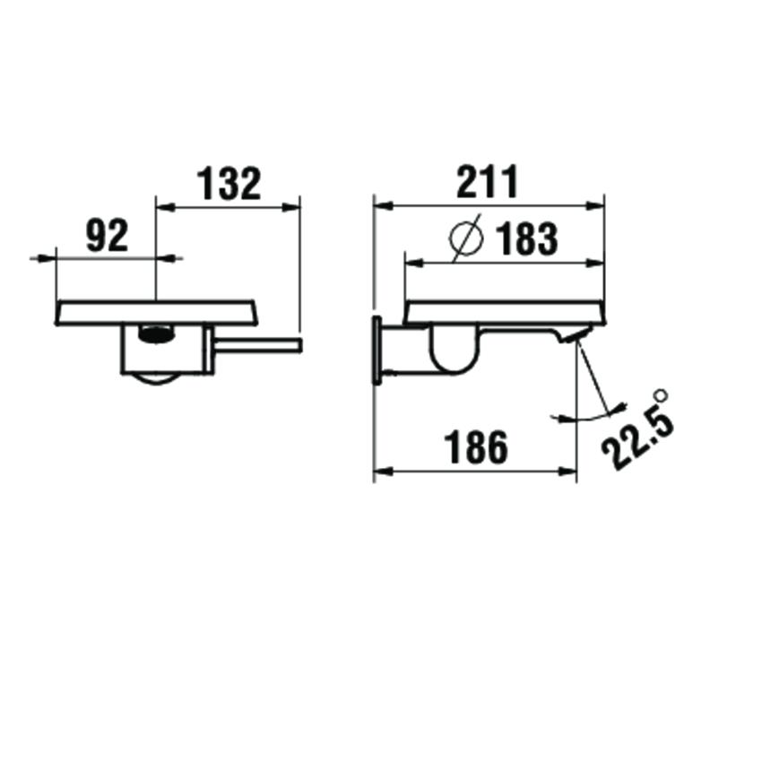 Bateria umywalkowa podtynkowa Laufen Kartell rysunek techniczny