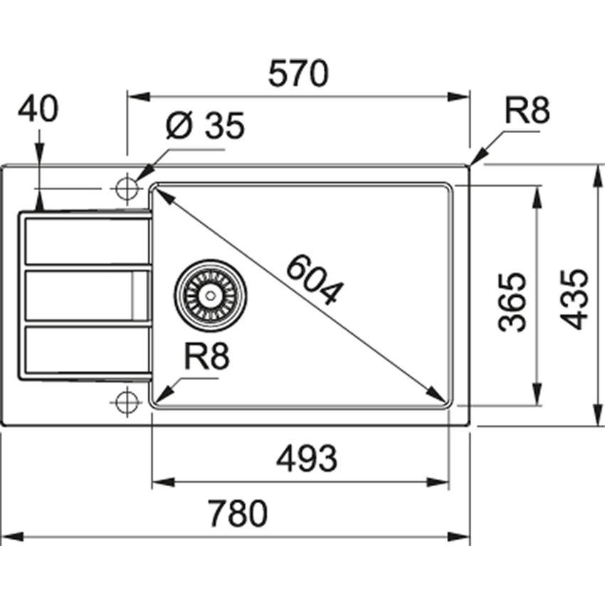 Zlewozmywak 1-komorowy z ociekaczem Franke Sirius SUD 611-78 XL rysunek techniczny