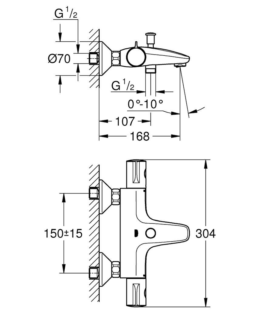 Bateria wannowa z termostatem Grohe Grohtherm 800 rysunek techniczny