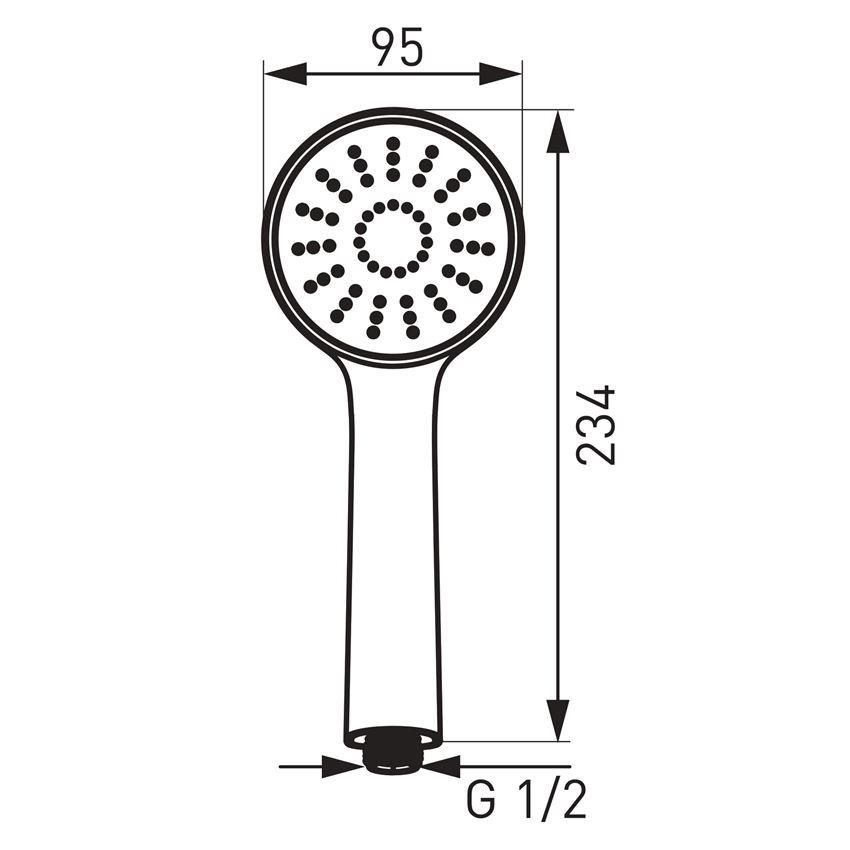 Rączka natrysku 1-funkcyjna Ferro Bello rysunek techniczny