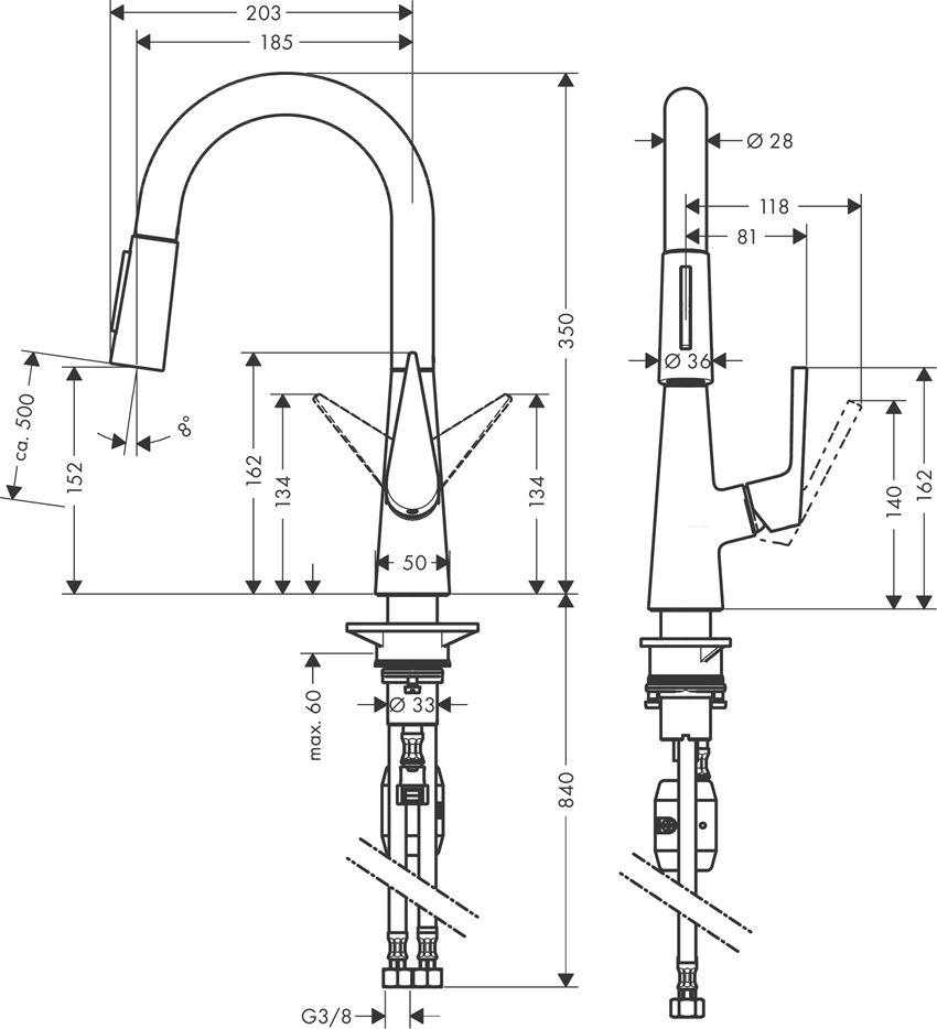 Jednouchwytowa bateria kuchenna 160 z wyciąganą wylewką chrom Hansgrohe Talis S rysunek techniczny