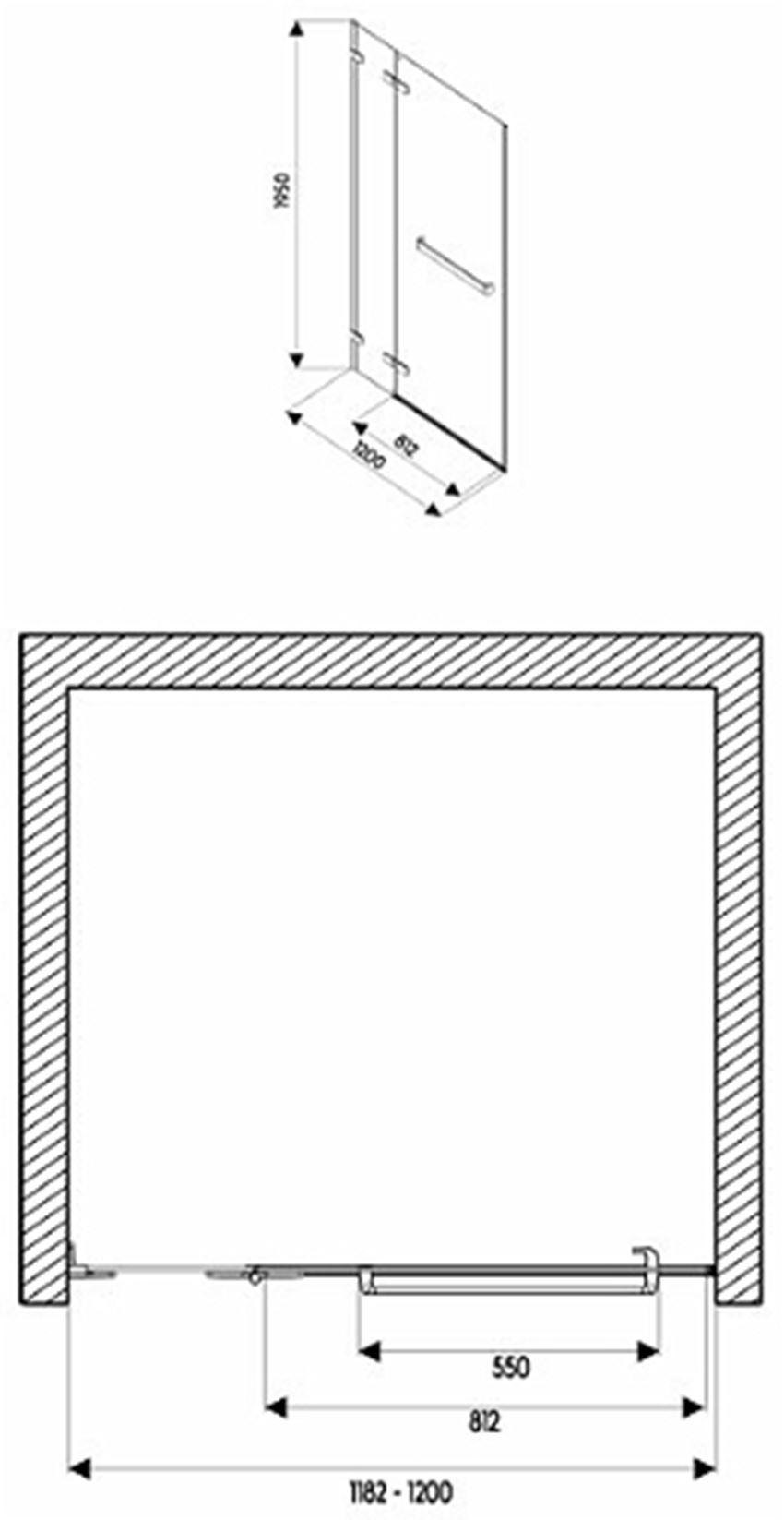 Drzwi lewostronne 120x195 cm Koło Next rysunek techniczny