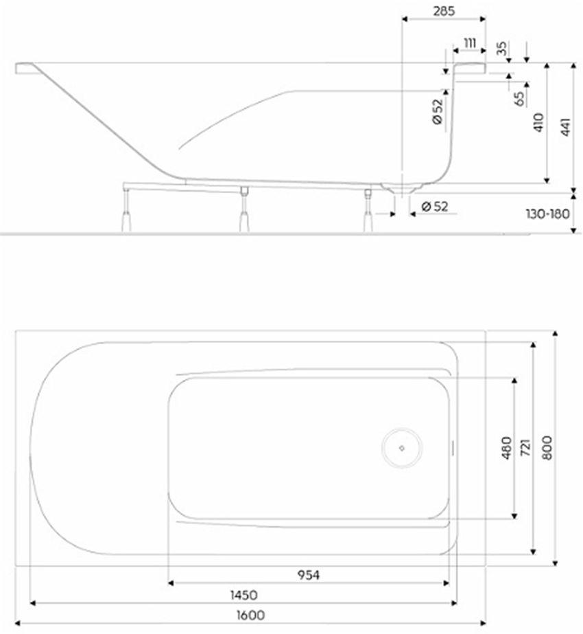 Wanna prostokątna 160x80 cm Koło Comfort Plus rysunek techniczny