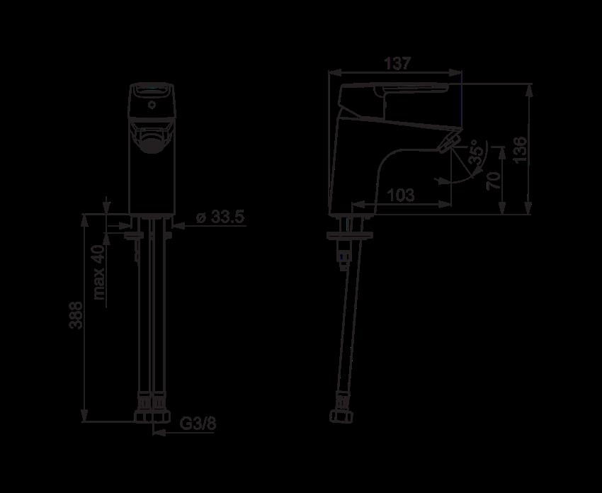 Bateria umywalkowa Oras Saga rysunek techniczny