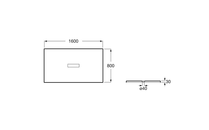 Brodzik prostokątny 160x80x3 cm Roca Helios rys.techniczny