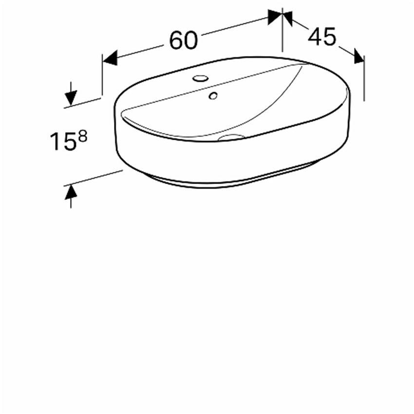 Umywalka stawiana na blat 60 cm eliptyczna z otworem i przelewem Koło VariForm rysunek techniczny