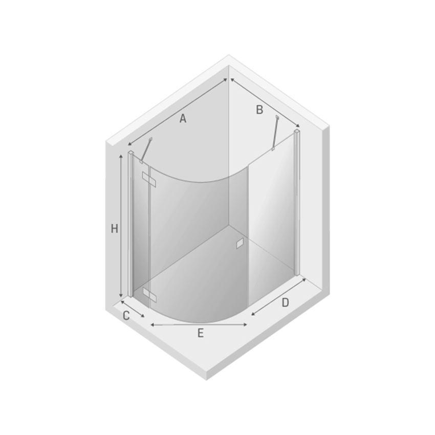Kabina prysznicowa asymetryczna 120x85x190 New Trendy Eleganta lewa rysunek techniczny
