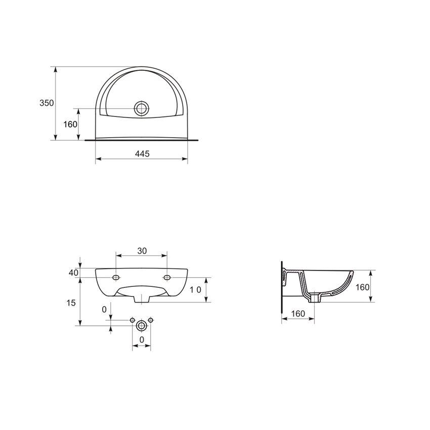 Umywalka wisząca 45 cm bez otworu Cersanit President rysunek techniczny