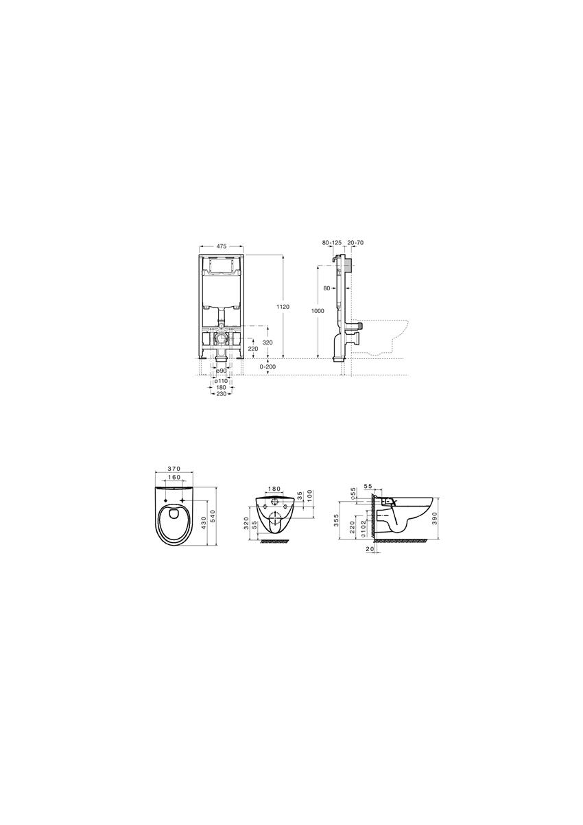 Zestaw podtynkowy Duplo One + miska WC podwieszana Victoria Rimless 47,5x112 cm Roca Victoria rysunek