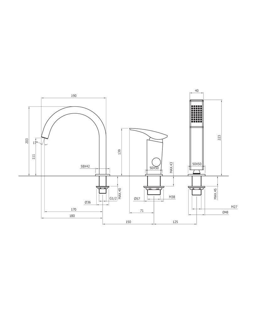 Bateria wannowa 3-otworowa Deante Minimal rysunek techniczny