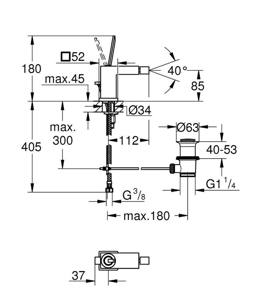 Bateria bidetowa jednouchwytowa Grohe Eurocube Joy rysunek techniczny