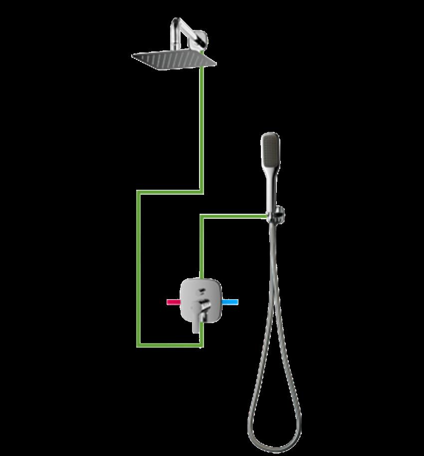 Kompletny łazienkowy system podtynkowy Omnires Hudson