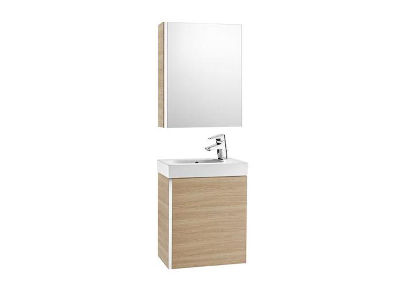 Zestaw łazienkowy Unik z drzwiami i szafką z lustre, 45x25x57,5 cm Roca Mini