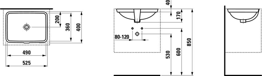 Umywalka podblatowa 49 cm Laufen Pro S rysunek