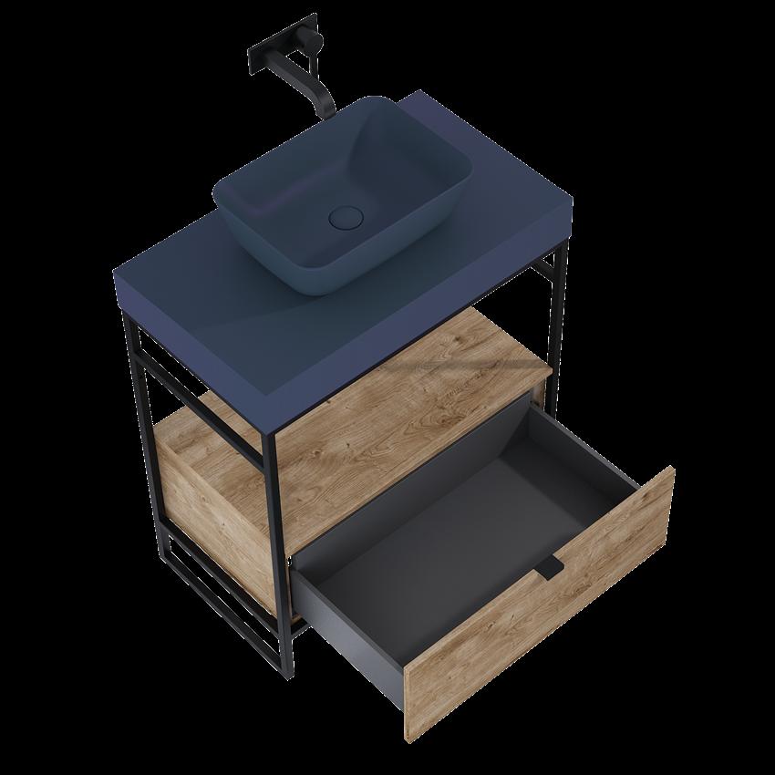 Szafka podumywalkowa 80x81x45,5 cm 1S Dąb Canela/Black Matt Elita Indus
