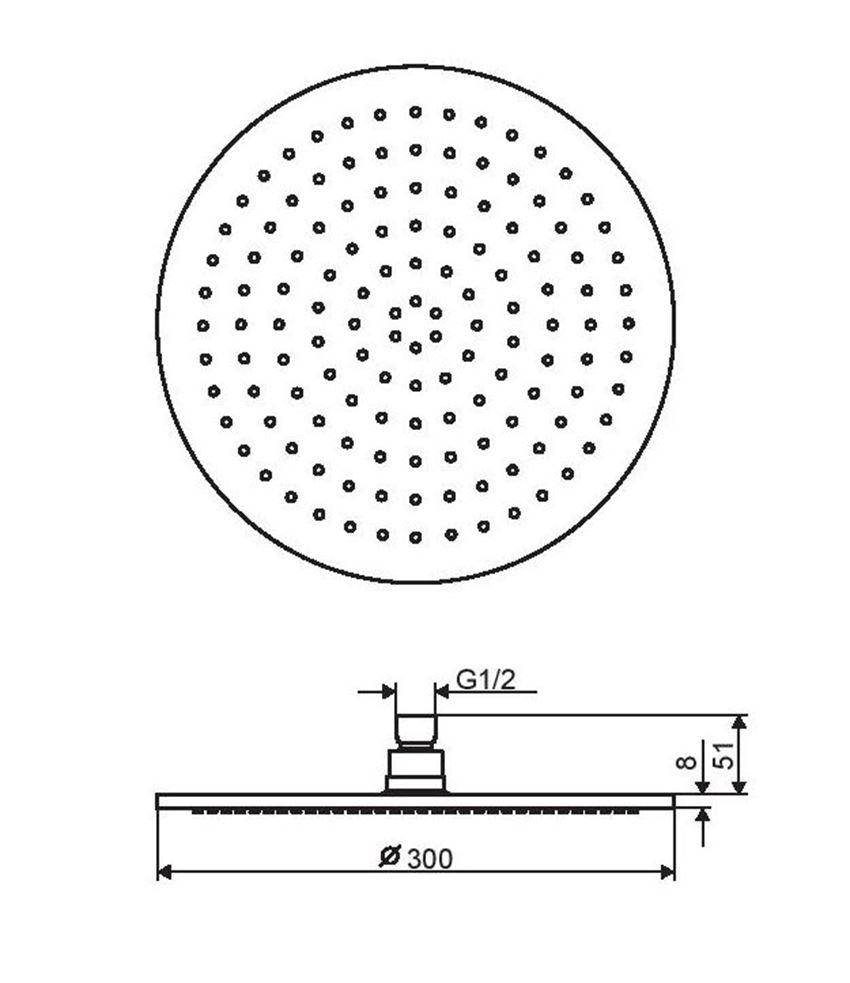 Głowica prysznicowa okrągła 30 cm Excellent Regular rysunek techniczny
