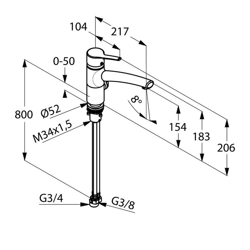 Jednouchwytowa bateria kuchenna Multi-Bajonett Kludi Trendo rysunek techniczny