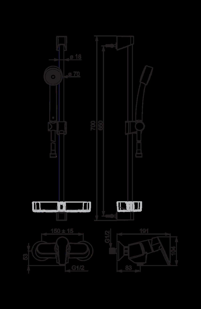 Bateria natryskowa z prysznicem Oras Saga rysunek techniczny