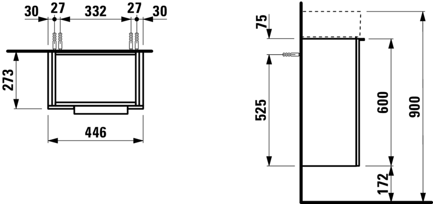 Szafka pod umywalkę 44,5x27,5x61,5 cm Laufen Kartell rysunek techniczny