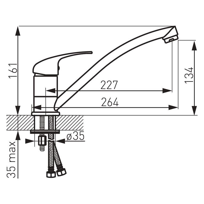 Bateria zlewozmywakowa stojąca Ferro Titania Iris rysunek techniczny