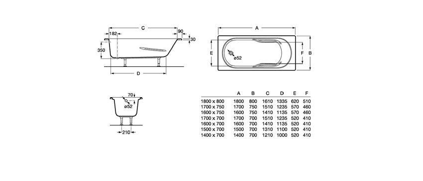 Prostokątna wanna akrylowa z hydromasażem Smart Water Plus Roca Genova N rysunek techniczny