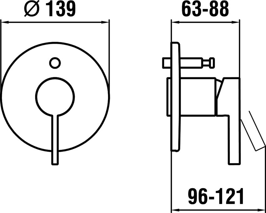 Podtynkowa bateria wannowo-natryskowa Laufen Kartell rysunek techniczny