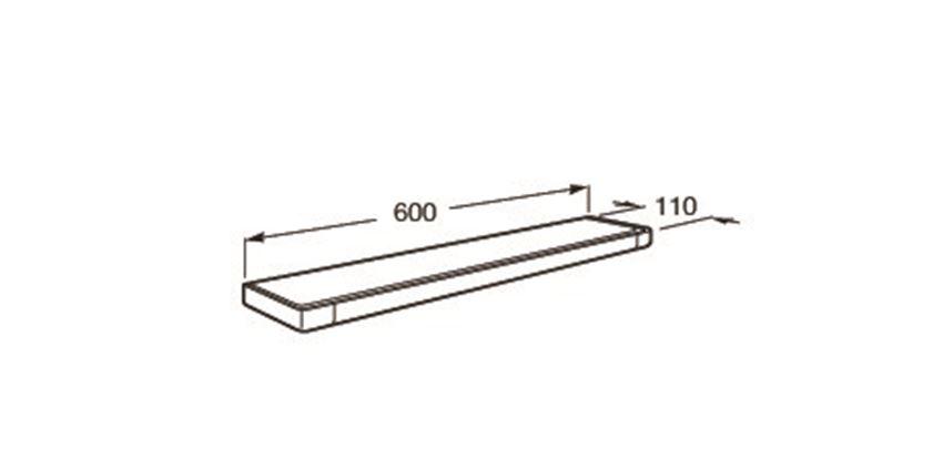 Półka łazienkowa szklana 60x11 cm Roca Tempo rysunek techniczny