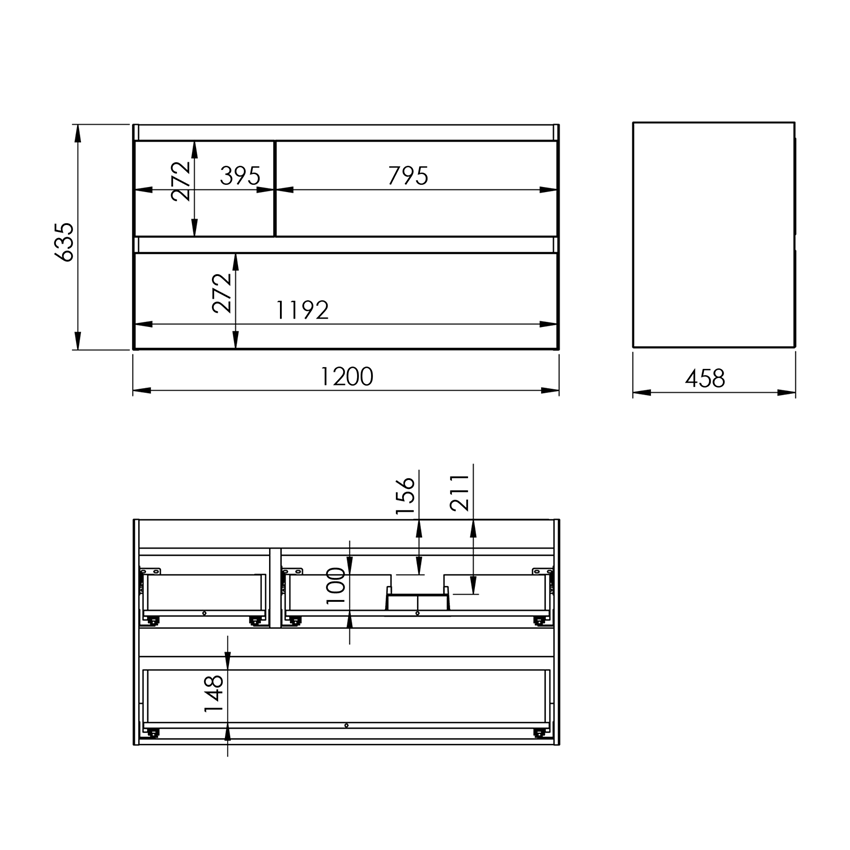 Szafka podumywalkowa 120 cm Elita Split 120 3S P White Matt