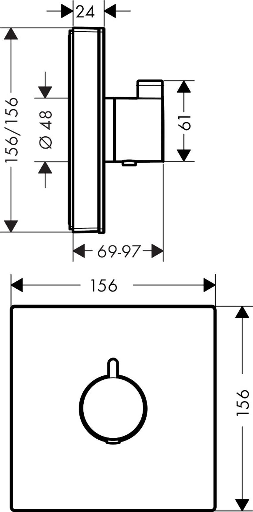Bateria termostatyczna HighFlow Hansgrohe ShowerSelect Glass rysunek
