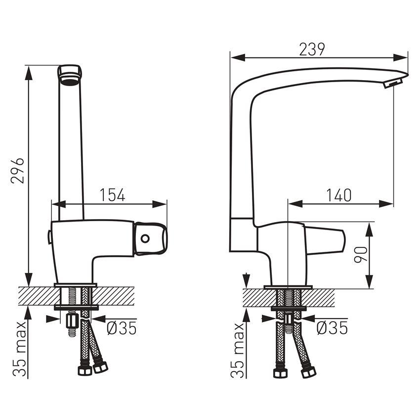 Bateria zlewozmywakowa składana Ferro Metalia 57 rysunek techniczny