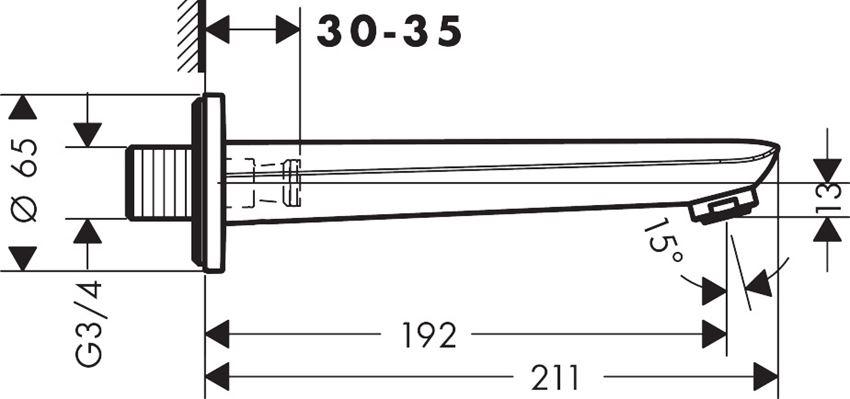 Wylewka wannowa Kludi Novus rysunek techniczny