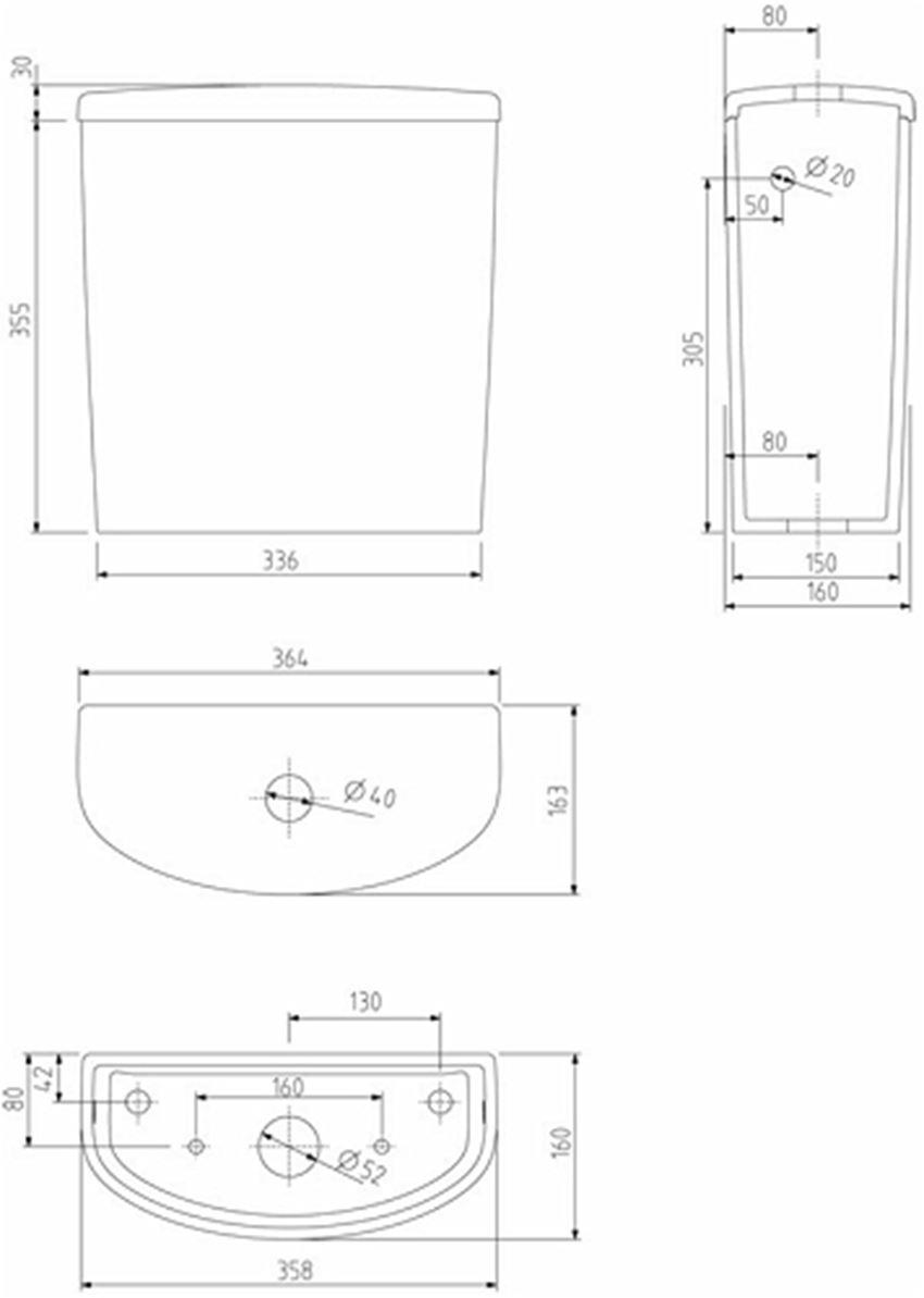 Spłuczka owalna z armaturą 6/3l Koło Nova Pro rysunek techniczny