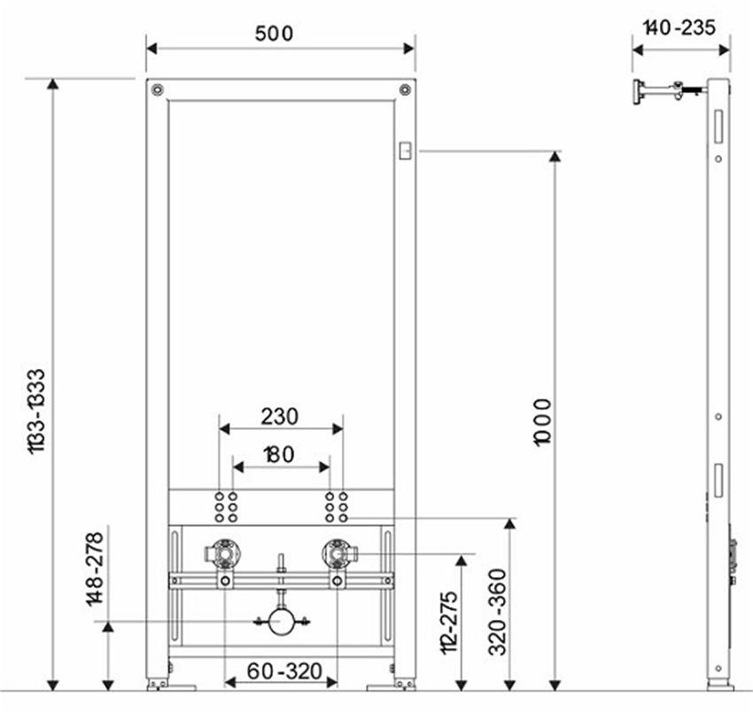 Zestaw stelaż+bidet Koło Technic GT STYLE rysunek techniczny