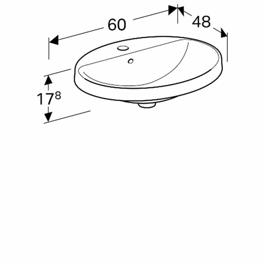 Umywalka owalna wpuszczana w blat z przelewem i otworem 60 cm Koło VariForm rysunek techniczny